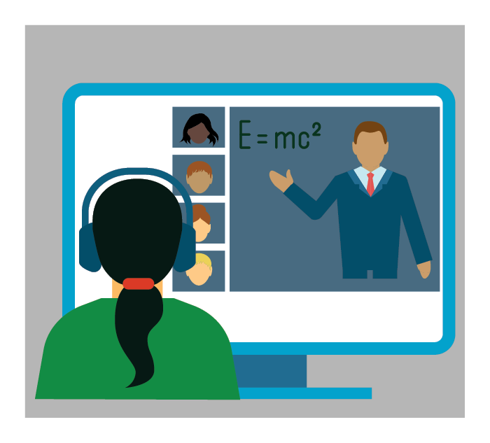 Vector art of student watching a virtual class