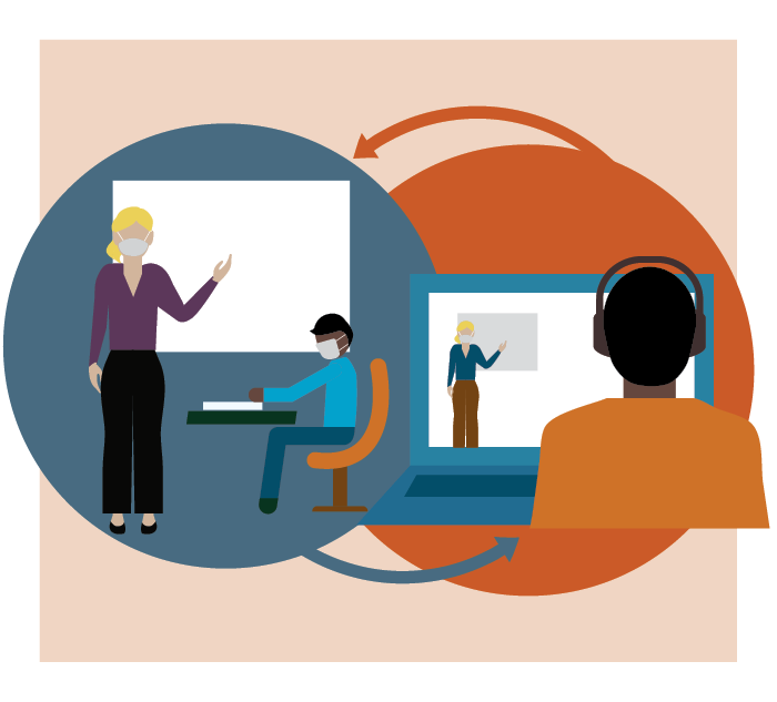 Vector art of masked teacher teaching a student in classroom, and image of another student attending lecture virtually