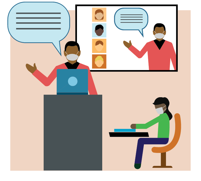 Vector art of teacher teaching in classroom with student and streaming lecture virtually